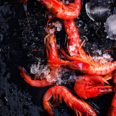 Fresh raw shrimps  with ice
