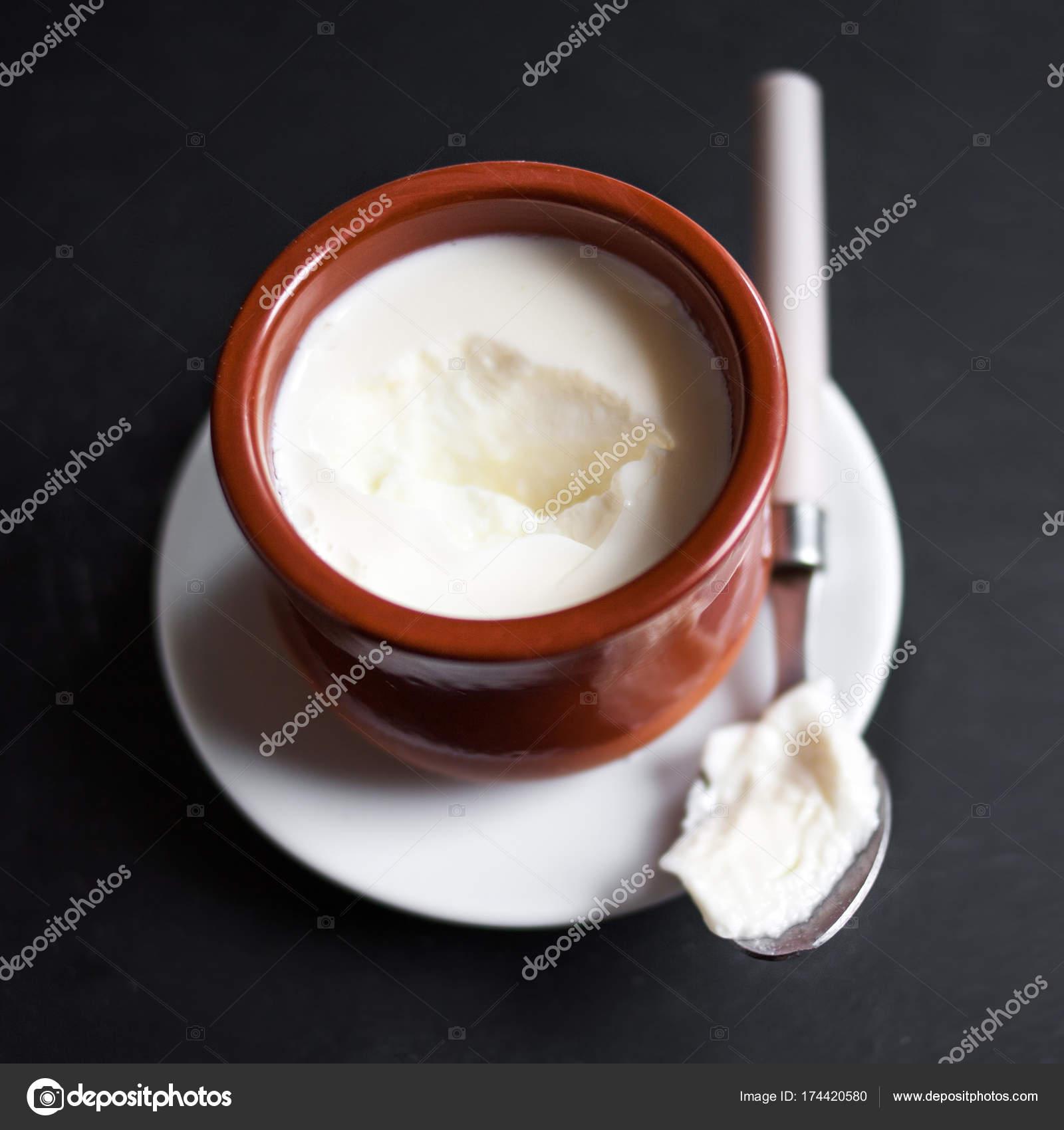 Sour Cream Natural Cottage Cheese Curd Clay Pot Dark Background U2014 Stock  Photo