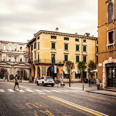 VERONA, ITALY - June 25, 2017:  Verona. Downtown streets at summer  day. Lifestyle,  tourist destination in Veneto region of Italy