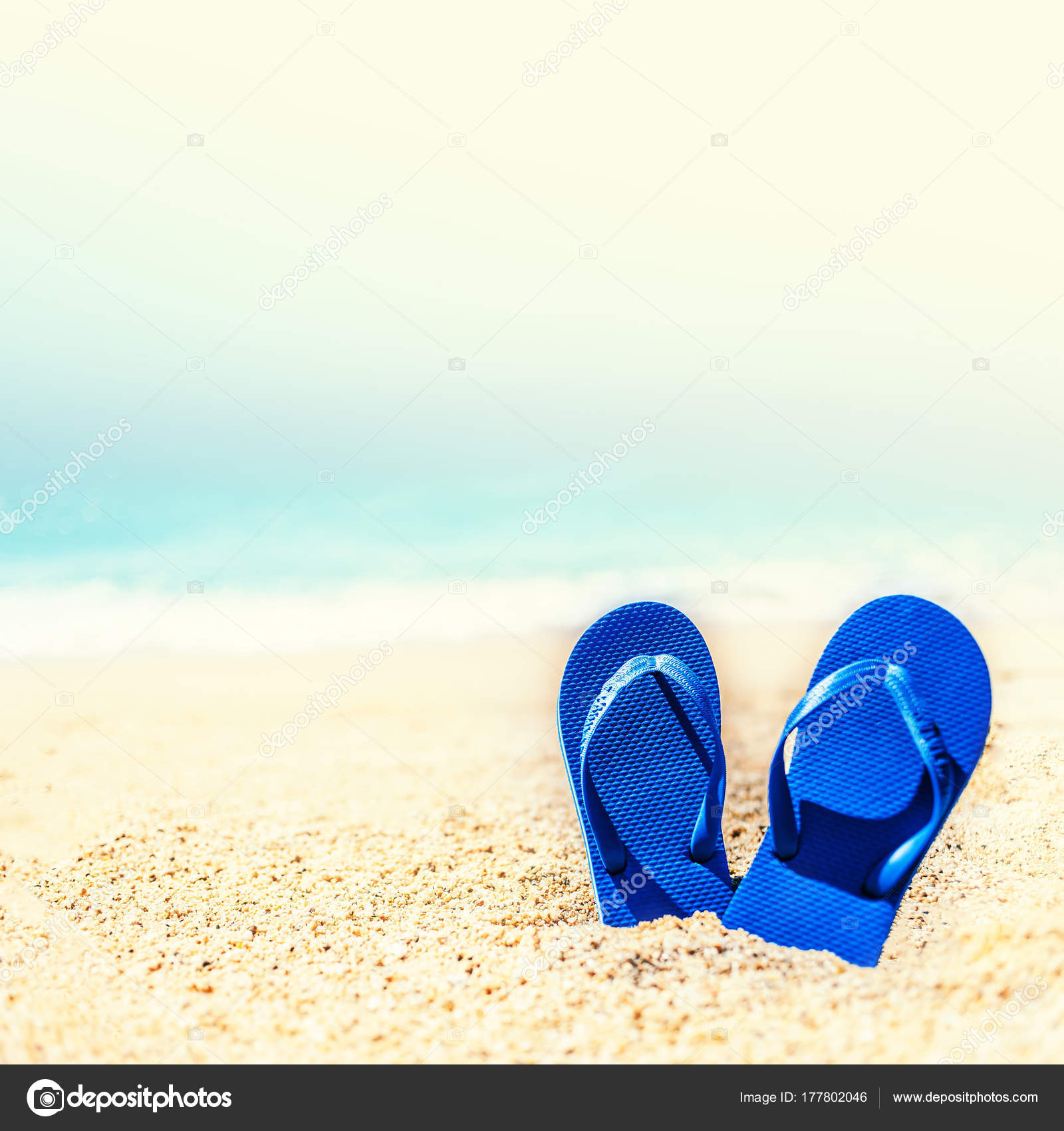 Summer Holiday Beach Background Flip Flops Tropical Beach Slippers Sand Stock Photo Image By C Zakharova 177802046