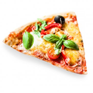 Slice of fresh italian classic Vegetarian  Pizza with cheese, tomatoes and basil leaf isolated on white backgroun
