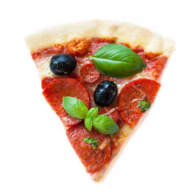 Slice of fresh italian classic Pepperoni Pizza with cheese, tomatoes and basil leaf isolated on white backgroun