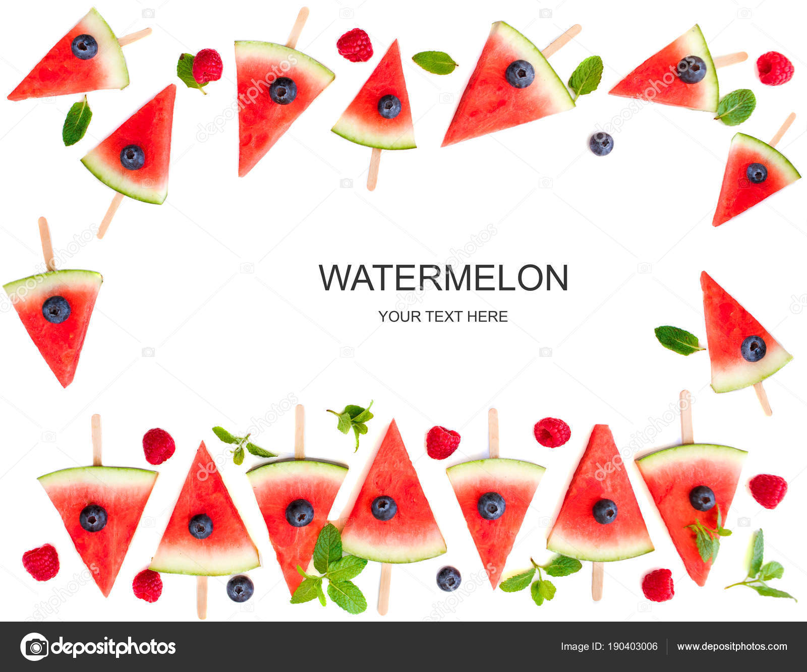 Watermelon slice popsicles frame isolated on white background ...