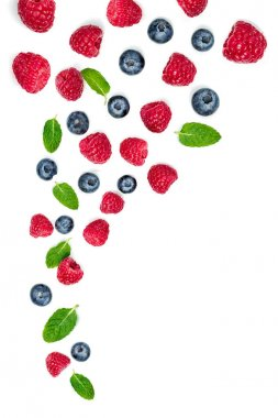 Berry mix isolated on a white background. Falling Strawberry, Ra