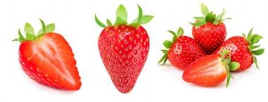 A set of fresh strawberry isolated on white background. Sweet st