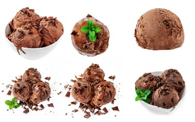 Chocolate  ice-cream Collection  isolated on white background. Delicious Ice Cream close-up