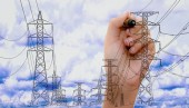 Fotografie transmission tower sketch with high voltage on blue sky with human hand