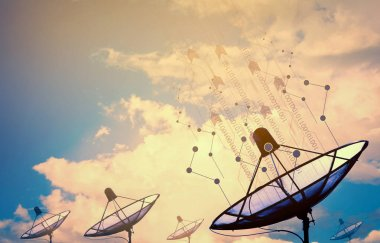 Satellite dishes with transmission data background