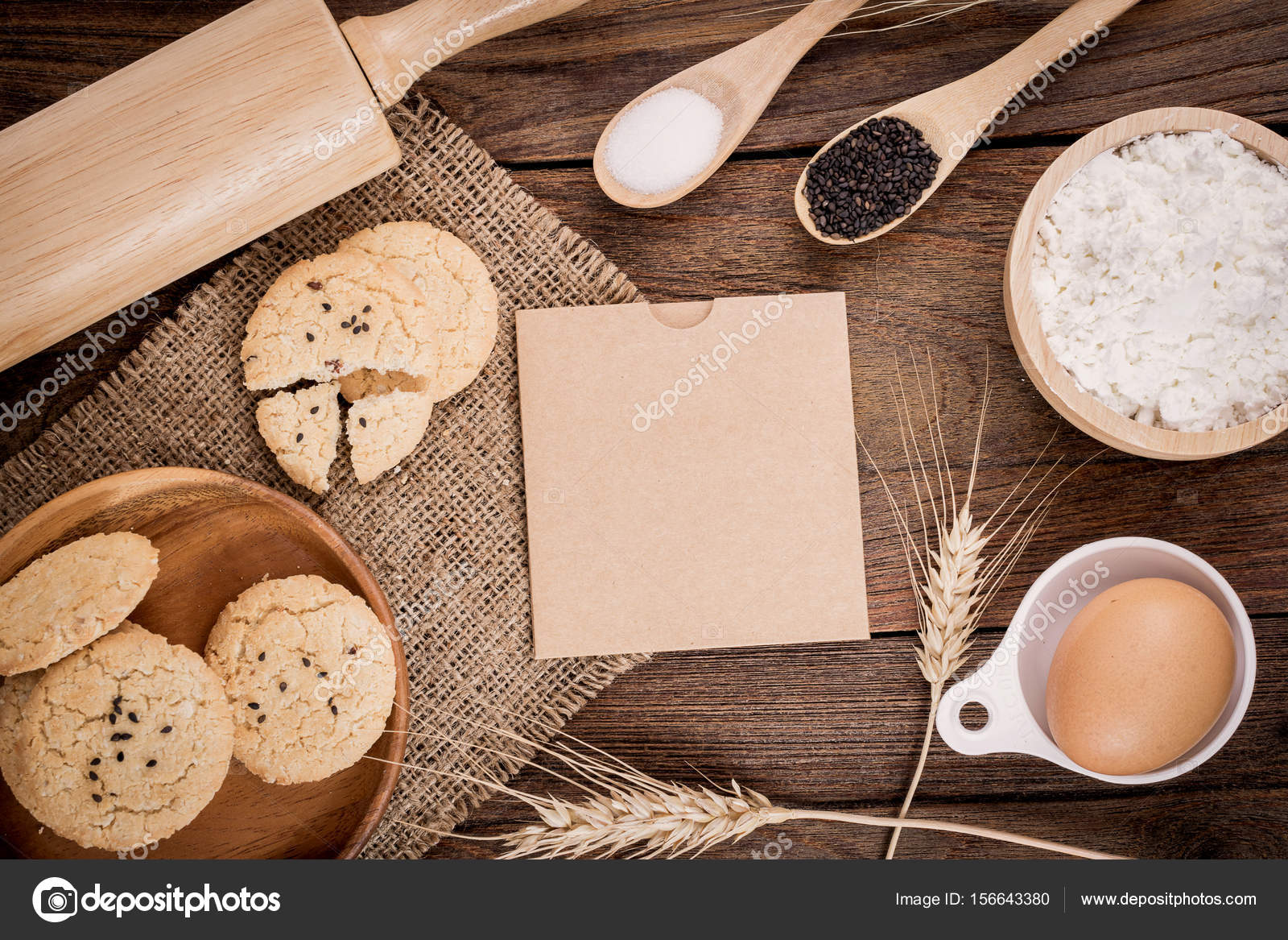 Beau Rural Vintage Wooden Kitchen Table With Old Blank Sheet Of Paper, Baking  Cookie Ingredients And
