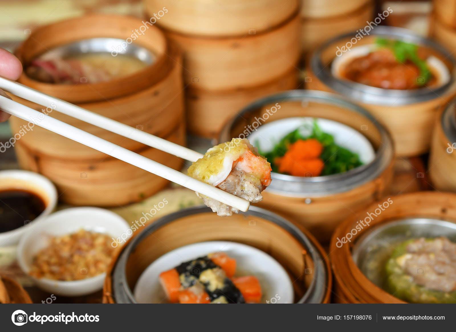 Yumcha Dim Sum Piroscafo Bambù Cucina Cinese — Foto Stock © aedkaDPS ...