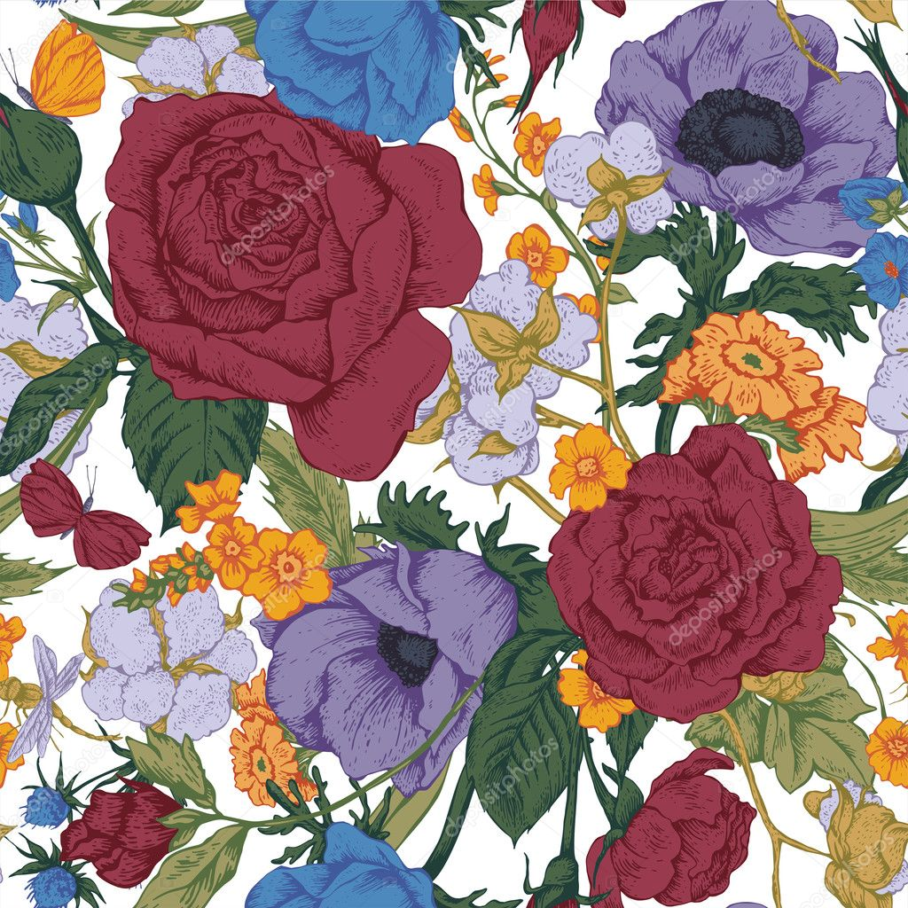 Vintage floral vector seamless pattern with roses