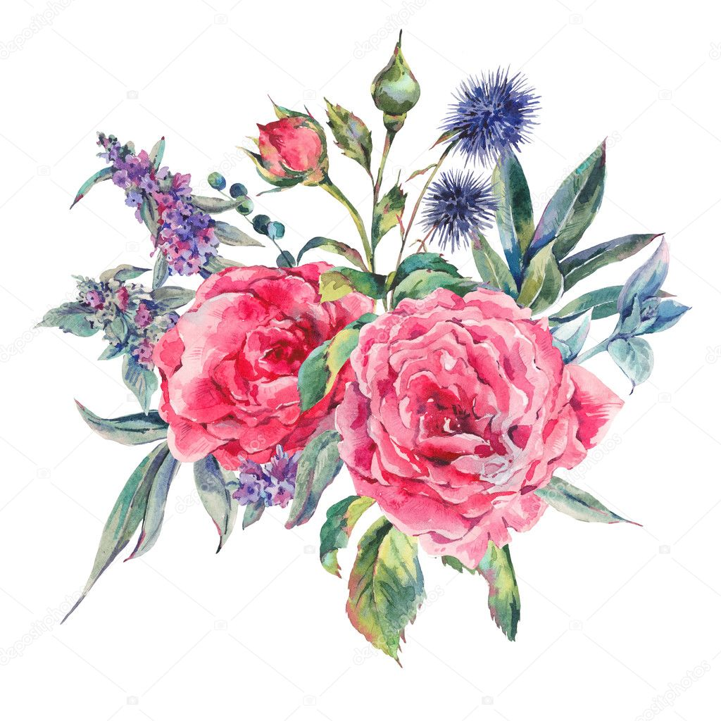 watercolor bouquet of roses and wildflowers