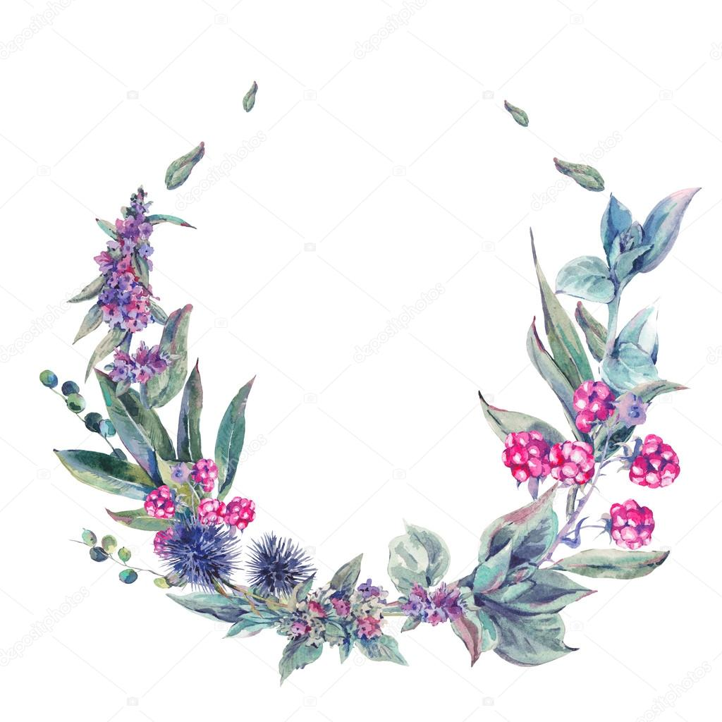 Watercolor floral wreath, vintage design element of wildflowers