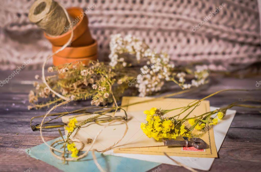 Vintage scene of old postcards, dried flowers, antique glasses