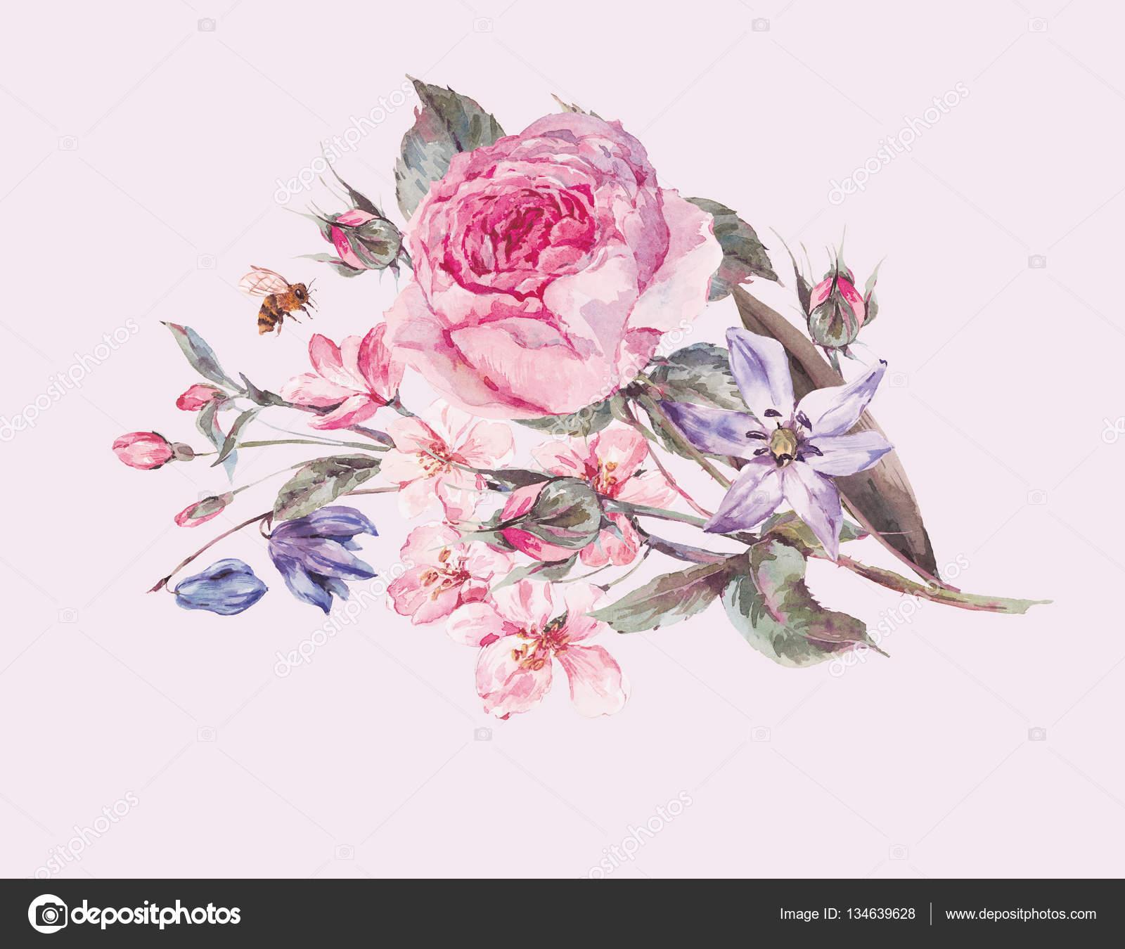 Цветы вишни акварелью