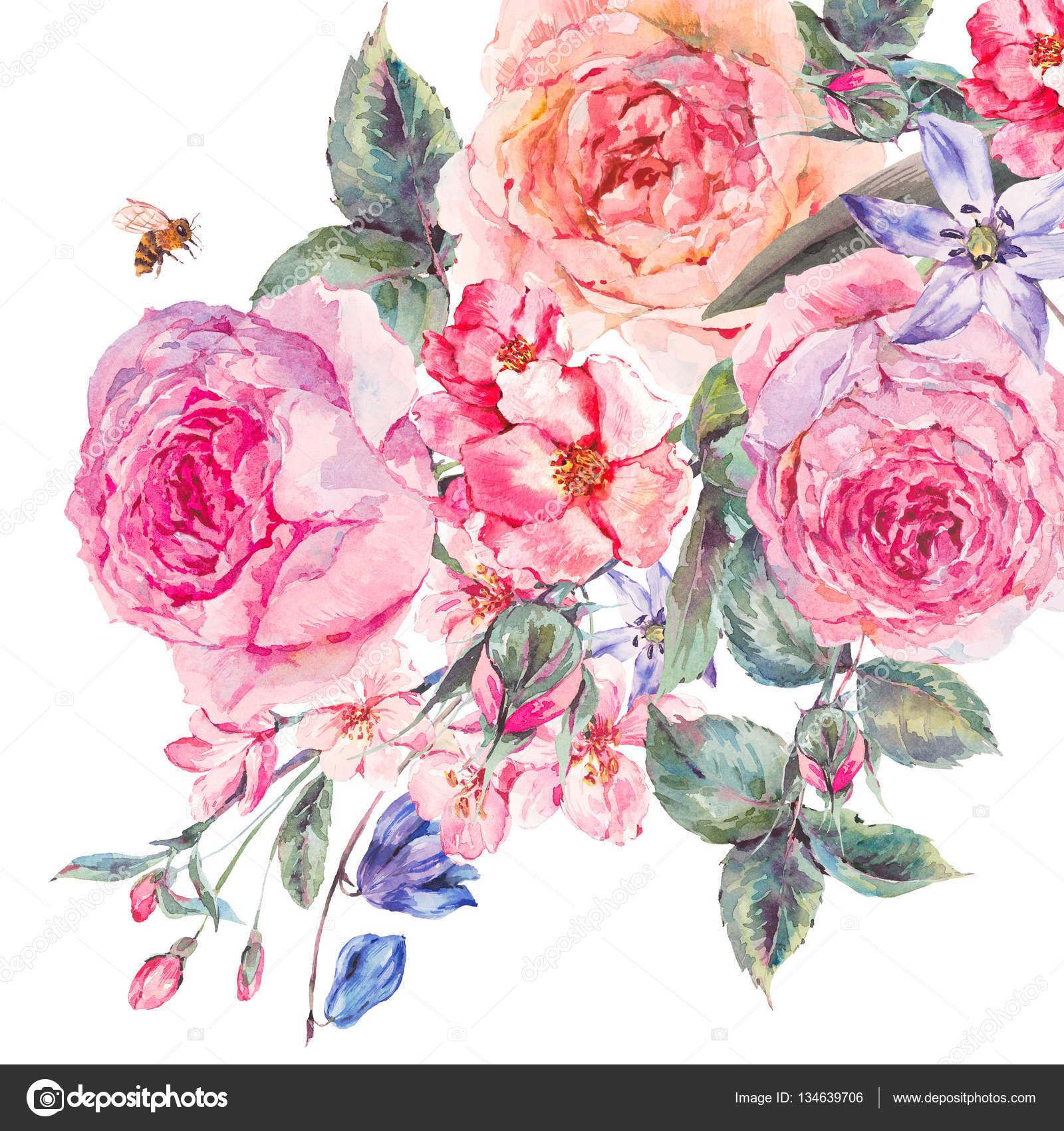 bouquet de printemps aquarelle de roses fleurs de cerisier. Black Bedroom Furniture Sets. Home Design Ideas