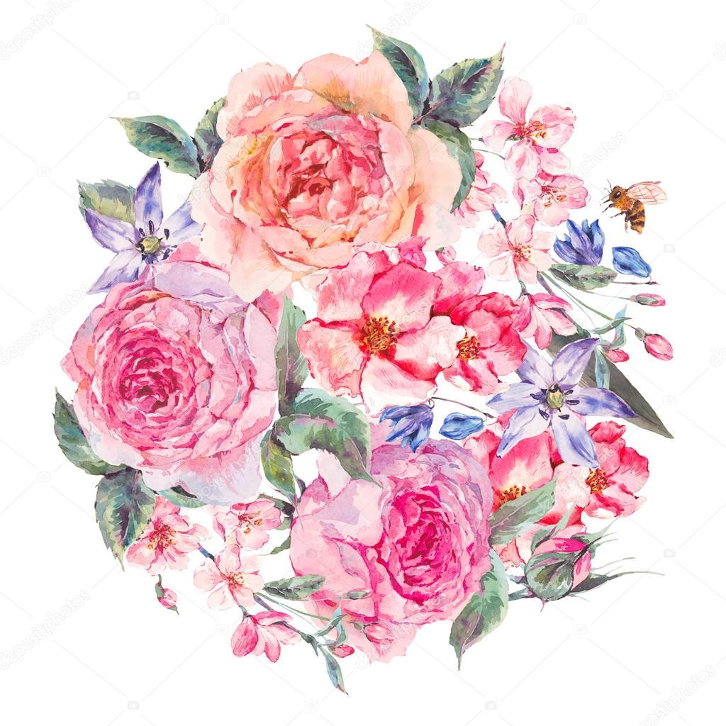 Watercolor spring bouquet with blooming cherry and english roses