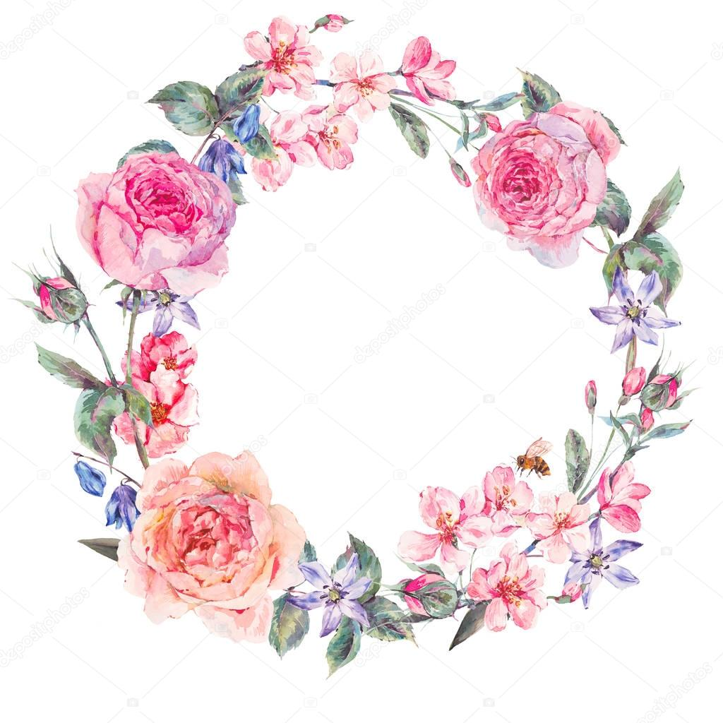 Watercolor spring round wreath with pink roses
