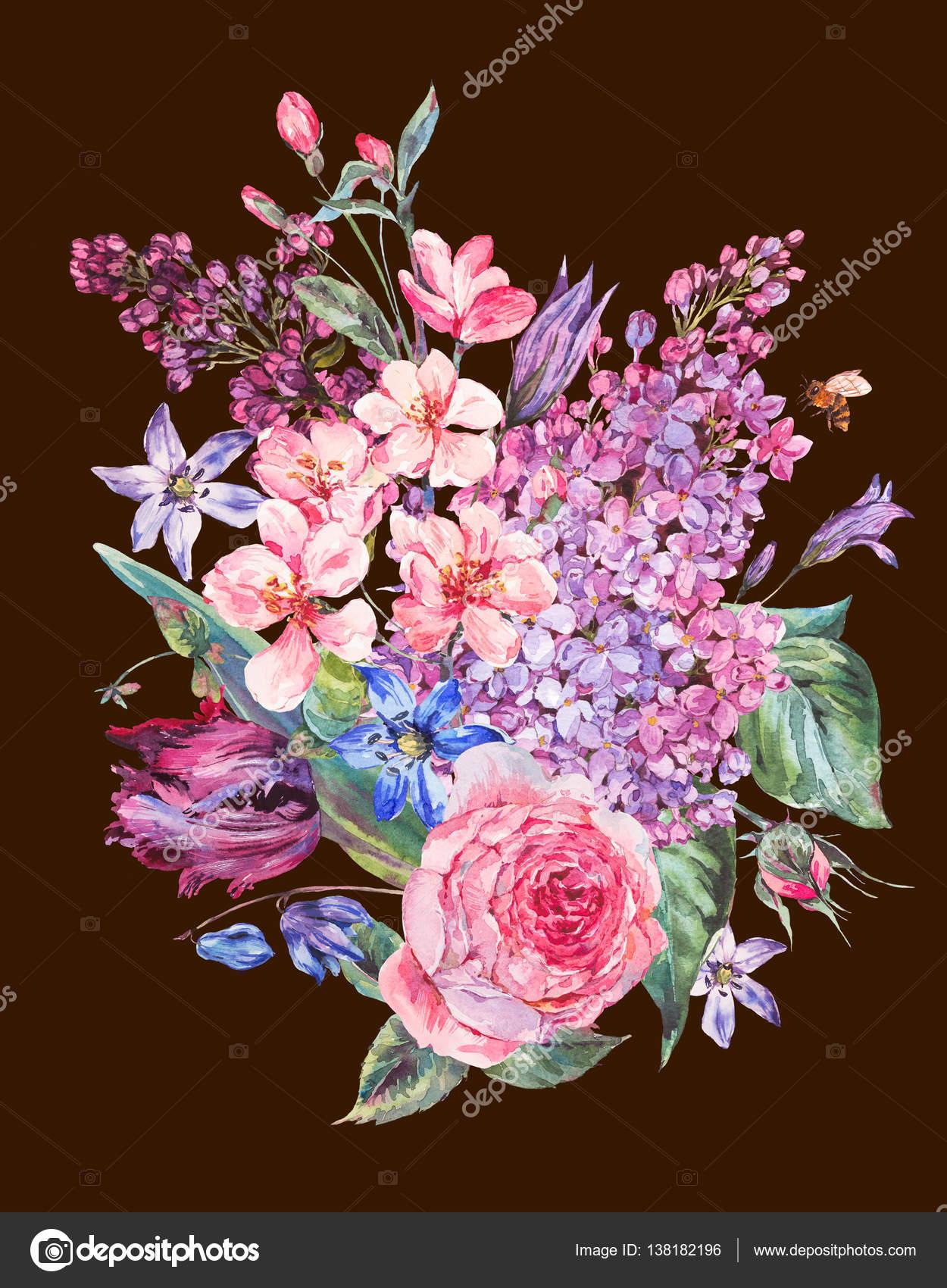 Bouquet de printemps aquarelle avec lilas fleurs roses - Fleurs roses de printemps ...