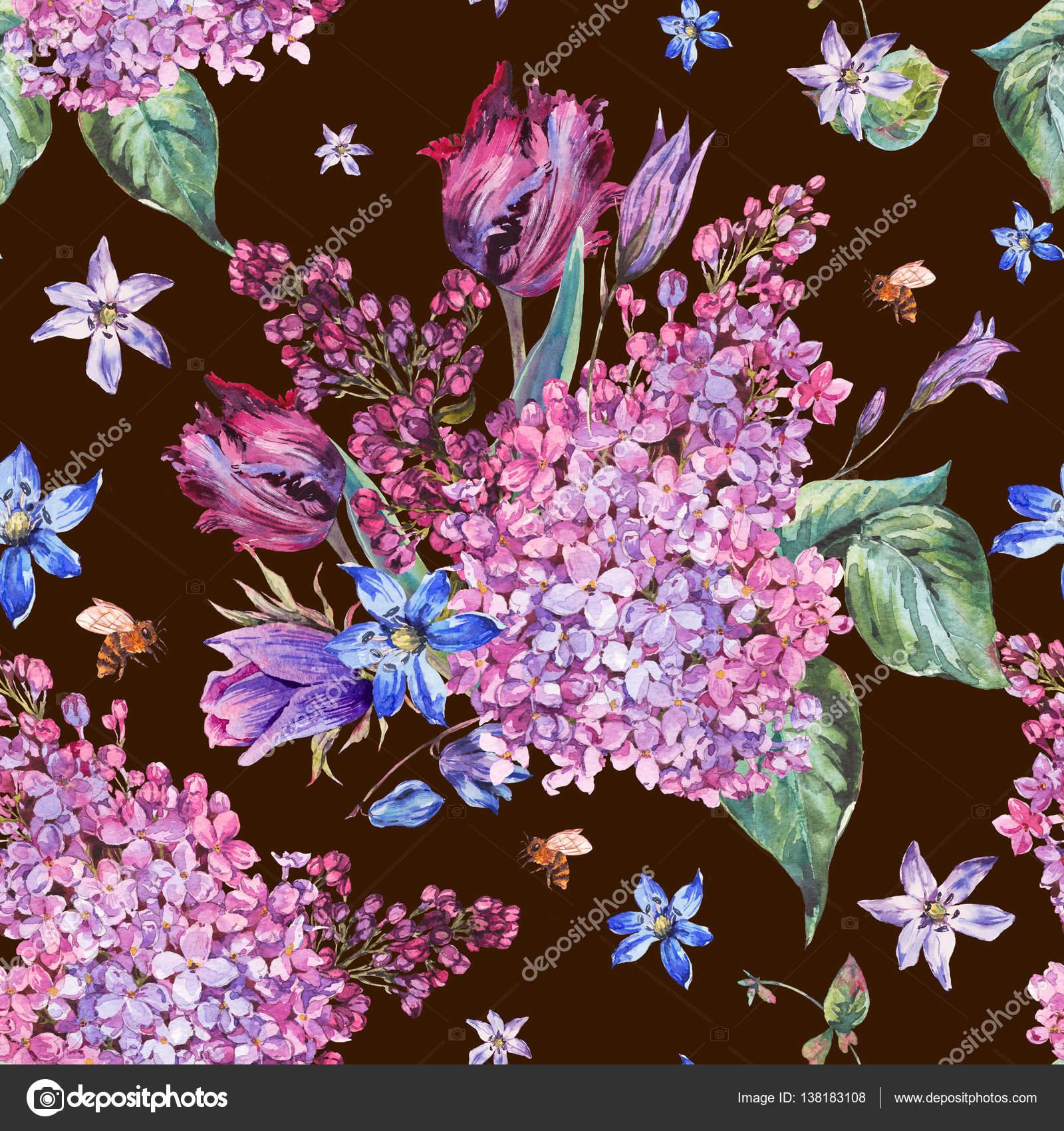 acuarela jardn vintage primavera fondo con flores violetas lilas tulipanes scilla y abeja ilustracin botnica en negro u foto de depiano