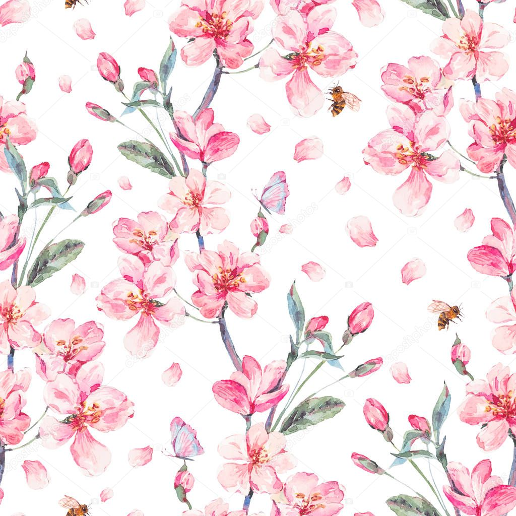 Watercolor spring seamless background with blooming branches