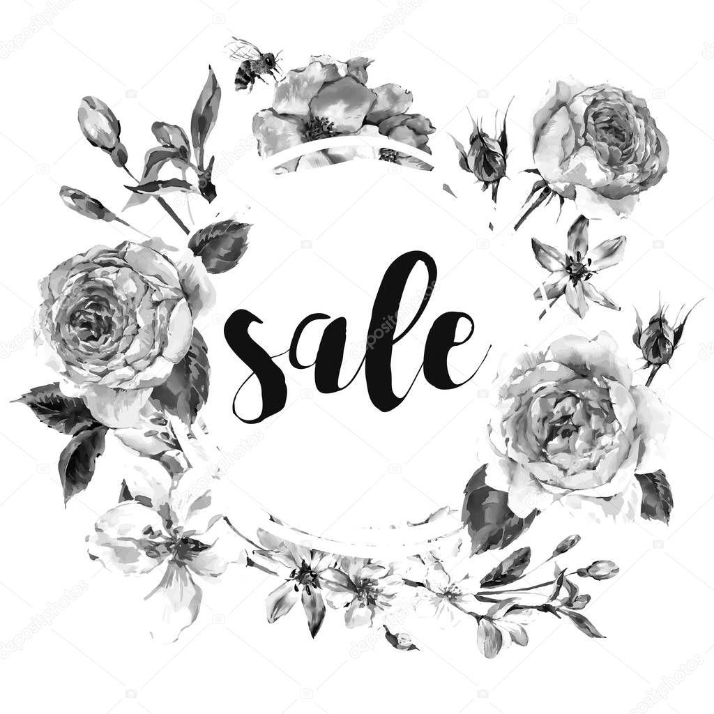 Vector spring vintage floral sale card