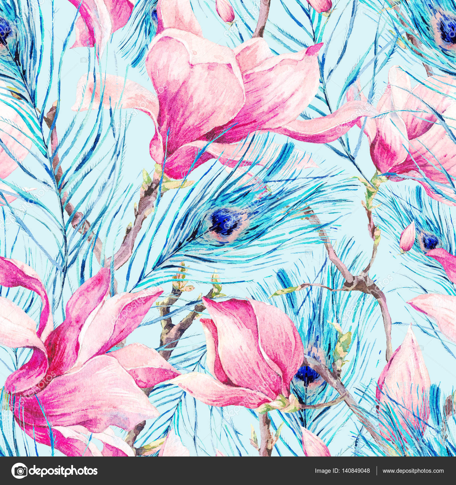 Patrón sin fisuras con Magnolia y pluma de pavo real — Fotos de ...