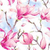 Photo Watercolor Floral Spring Seamless Pattern with Magnolia
