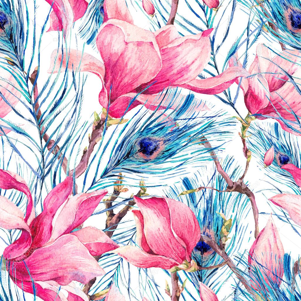 Seamless Pattern with Magnolia and Peacock Feather