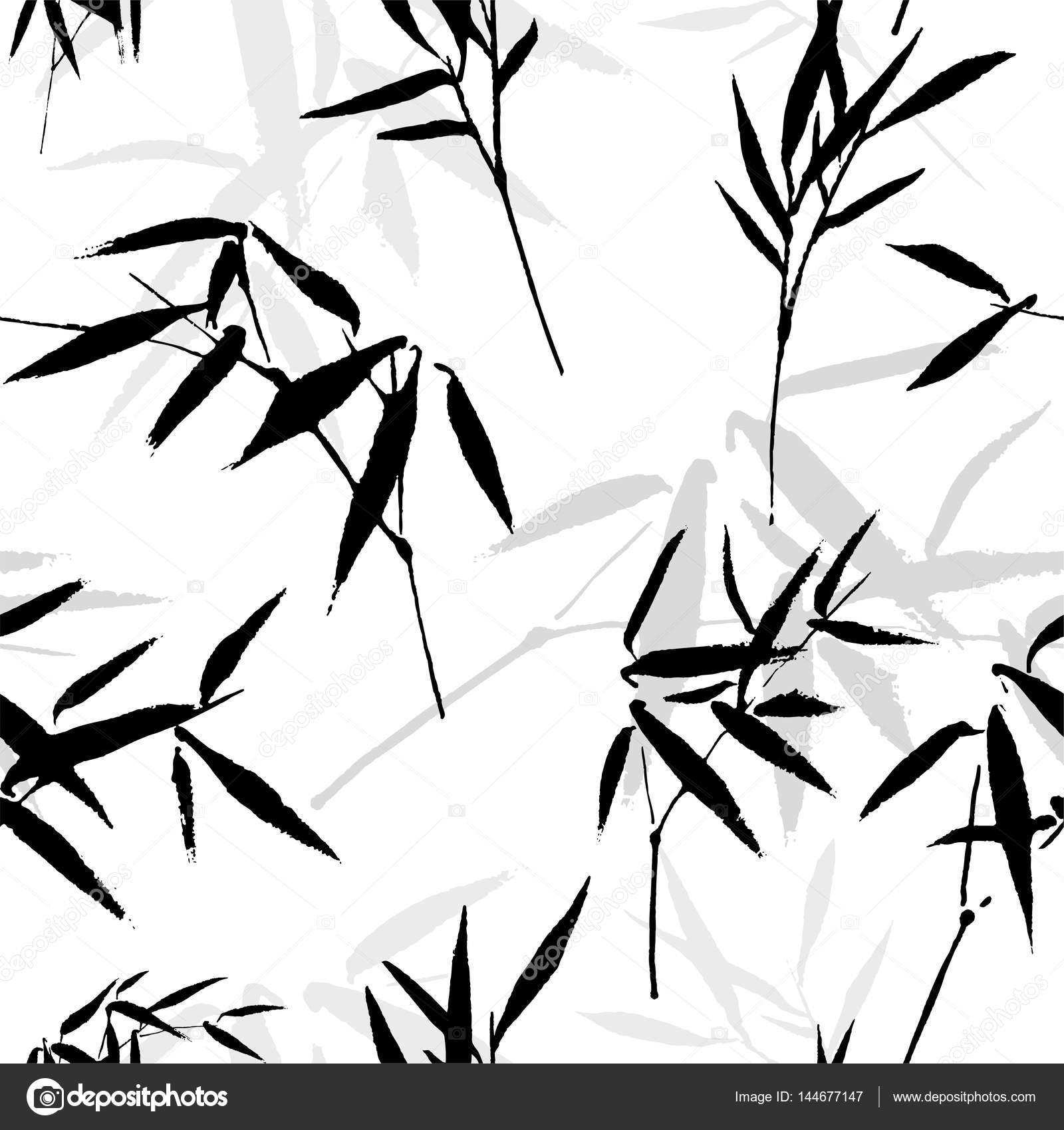 Tusche Zeichnung Nahtloses Muster Mit Einem Bambus Stockvektor