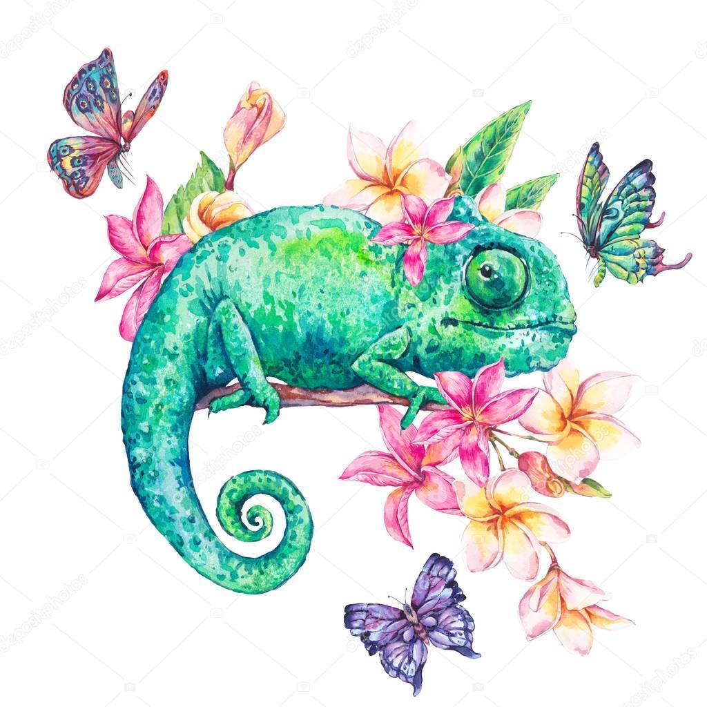 Chameleon Watercolor Tattoo: 수채화 그린 카멜레온, 나비와 꽃