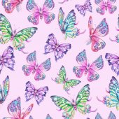 Akvarelu bezešvé vzor s motýly