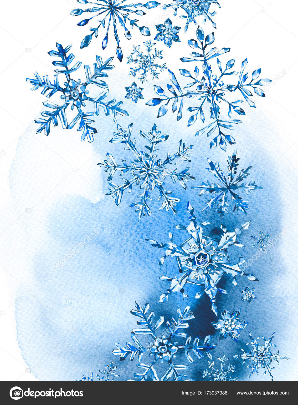 Watercolor winter greeting card with snowflakes stock photo watercolor winter greeting card with snowflakes stock photo m4hsunfo