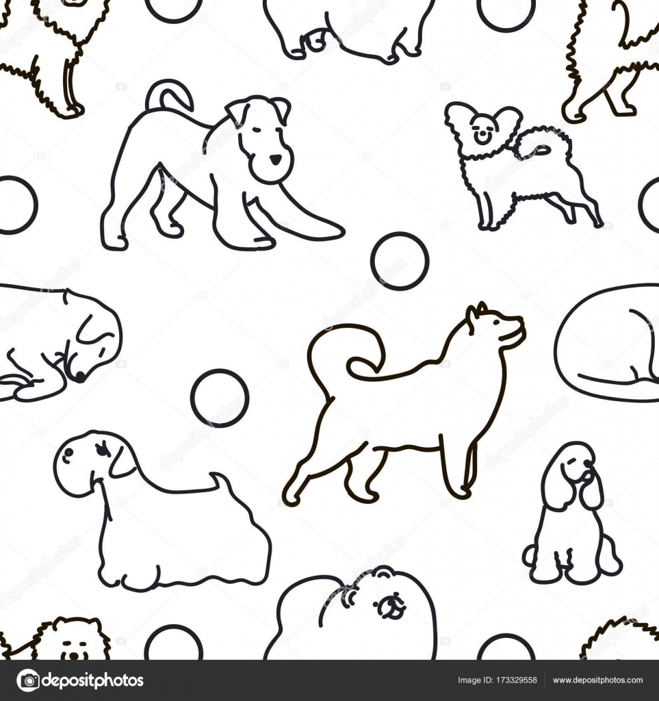 Seamless Pattern With Cute Dogs Stock Vector C Mamziolzi 173329558
