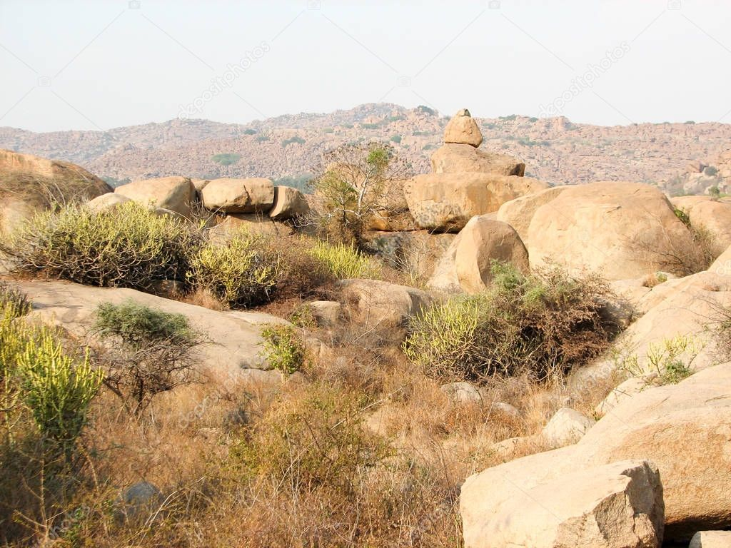 Landscape with stones in ancient city Hampi