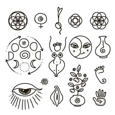 Vector illustration of feminine and all seeing eye symbol and sacred geometry