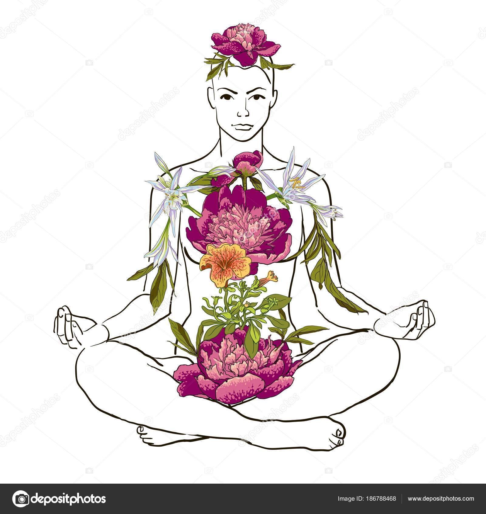 Beautiful woman doing yoga meditation — Stock Vector