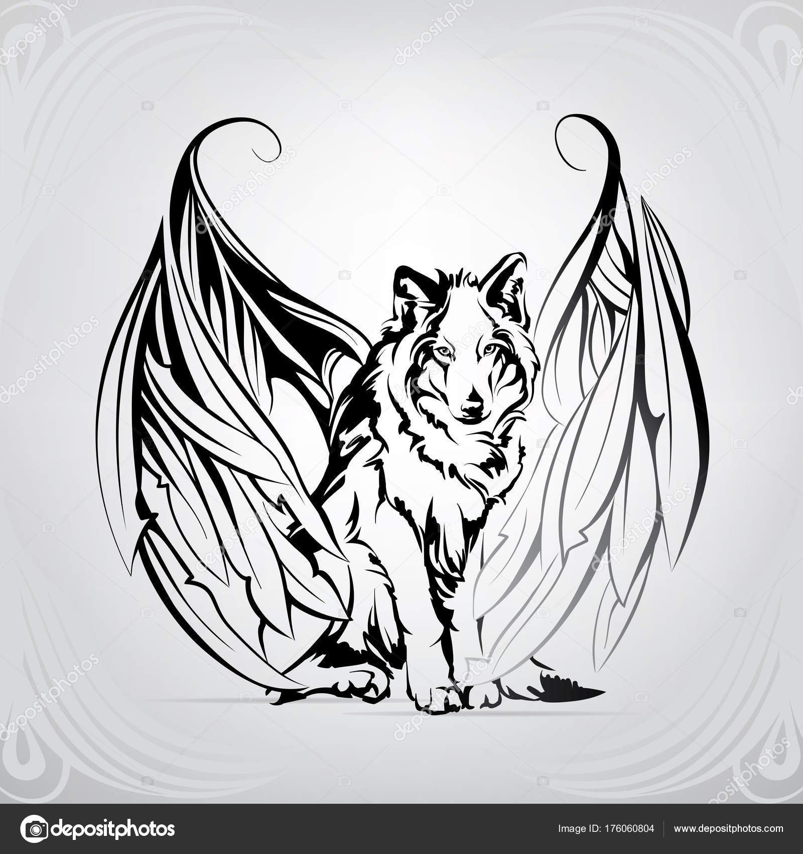 Imágenes Siluetas De Lobos Para Dibujar Silueta Lobo Con Alas