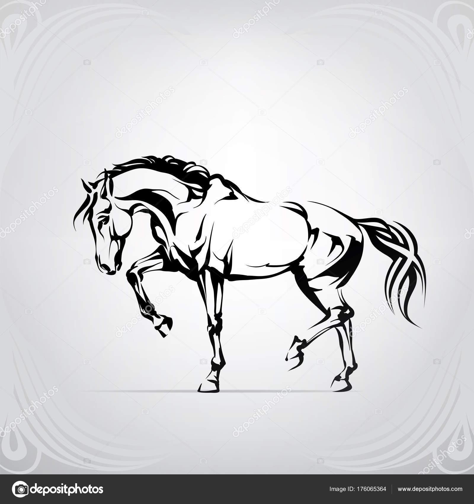 Silhouette Walking Horse Stock Vector C Nutriaaa 176065364