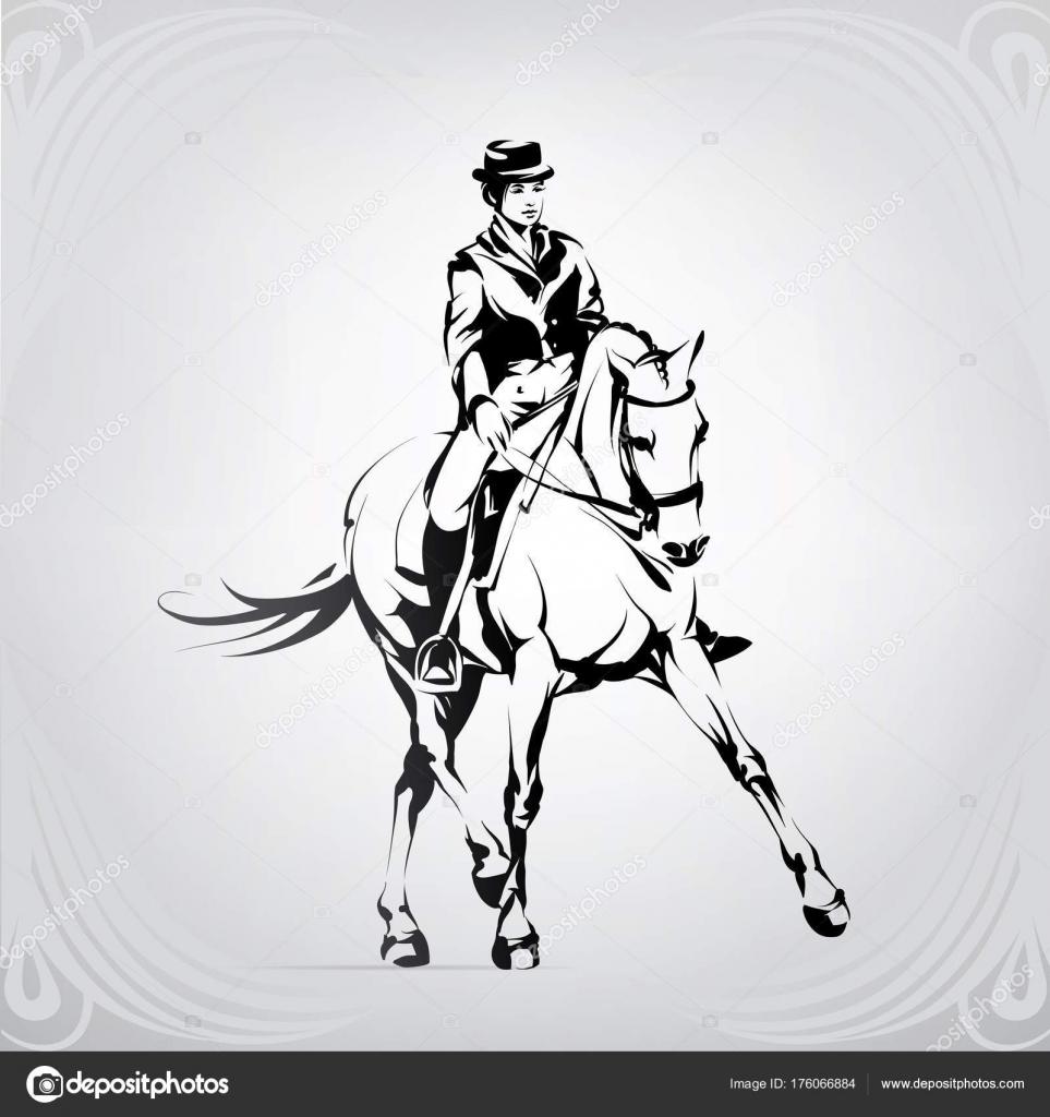 reiter ausmalbilder pferde dressur  malvorlage