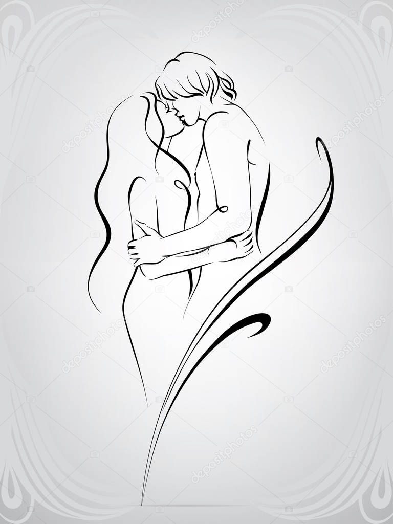 Silhouette of a loving couple clipart vector