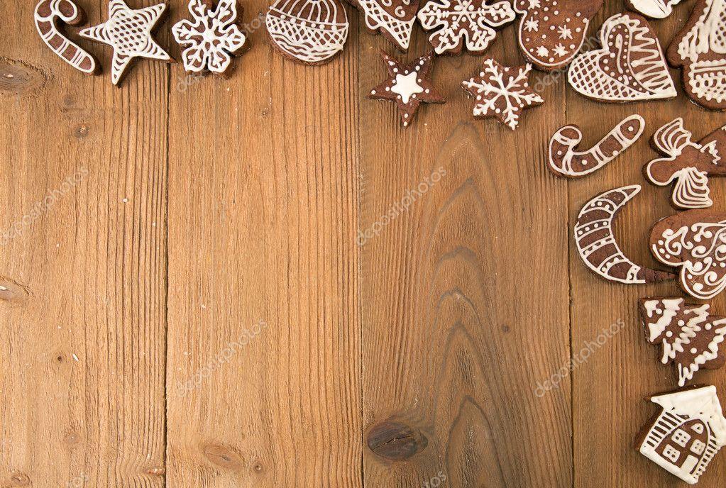 Wiersz Z świąteczne Pierniki Na Starym Drewnianym Stole