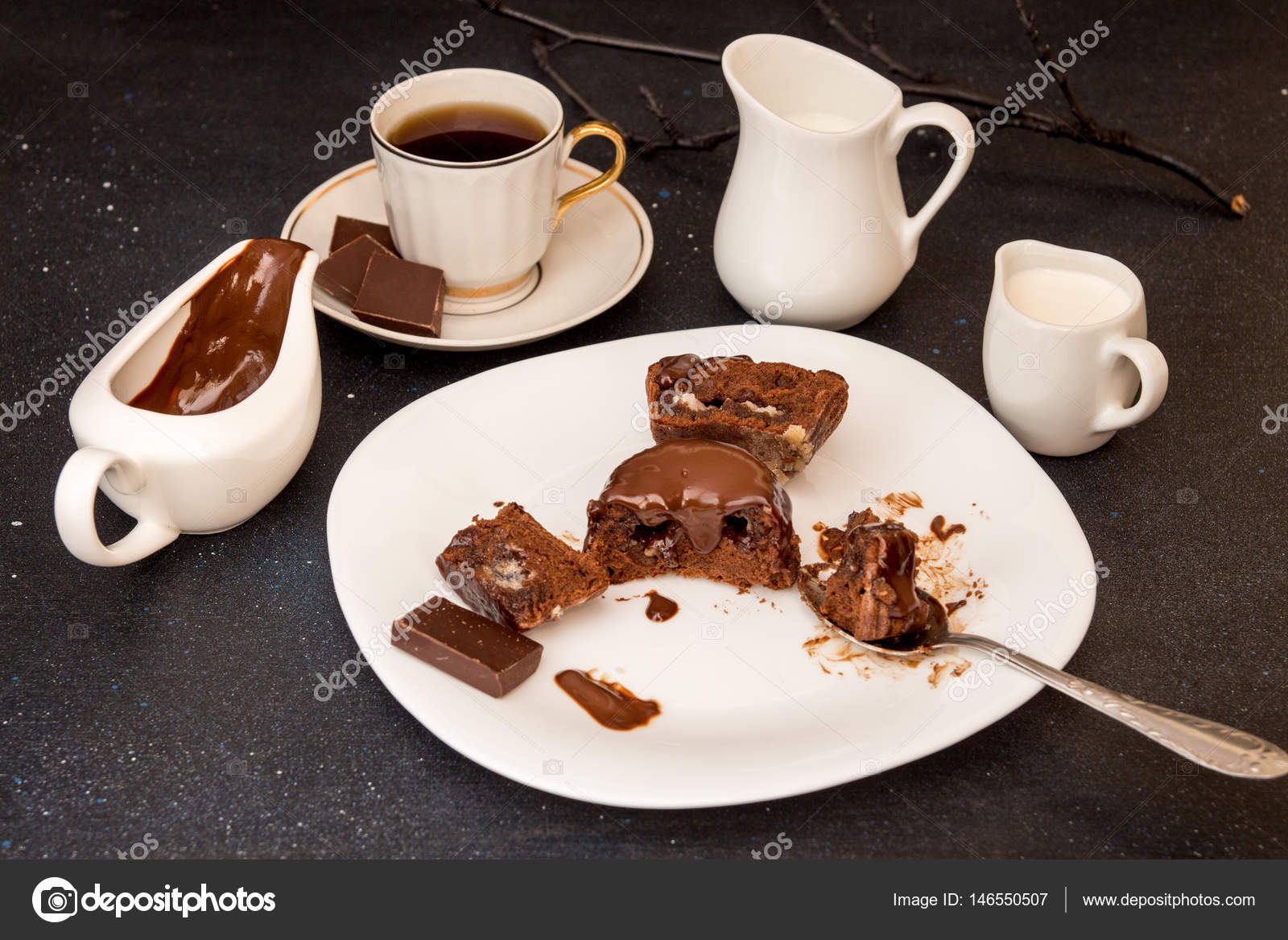 chocolate french dessert cake mi-cuit on white plate — stock photo