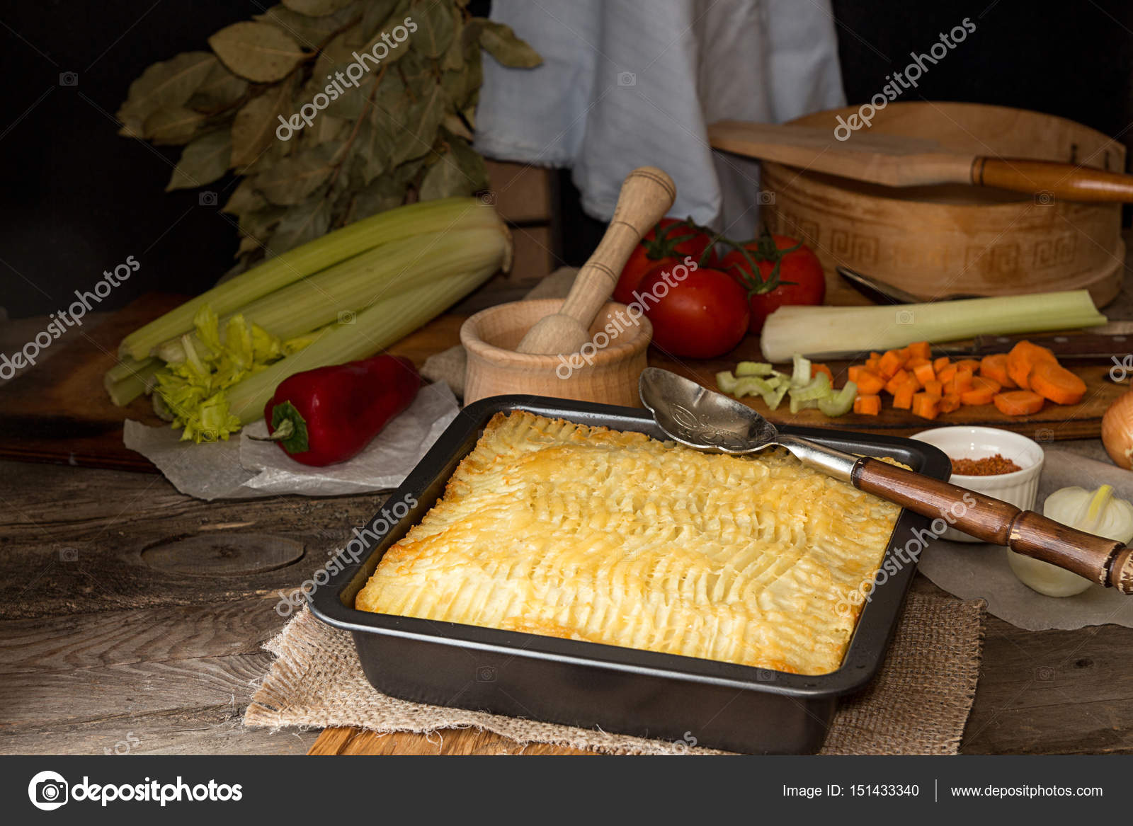 Shepherd\u0027s pie traditional english dish. Pie on plate. Recipe with minced beef lamb carrot onion celery mashed potato baked in casserole. Rustic style. & Shepherd\u0027s pie traditional english dish. Recipe with minced beef ...