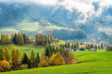 Autumnal panorama at Santa Magdalena village in the famous Val di Funes. Trentino Alto Adige, Italy. stock vector