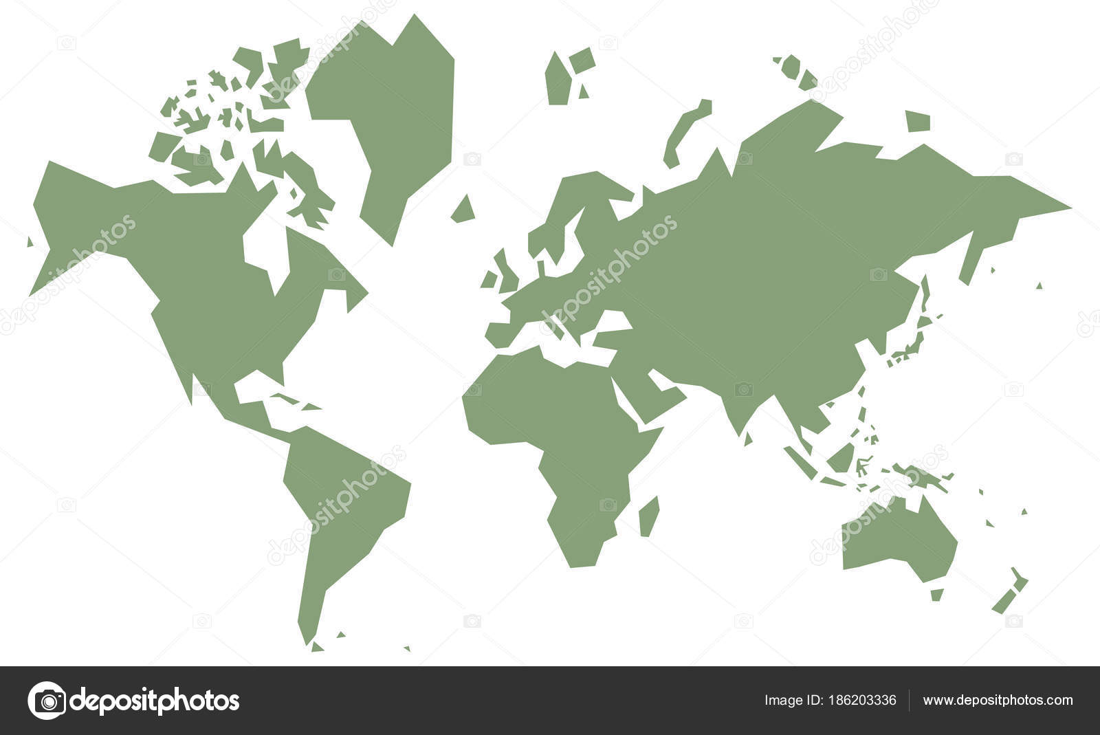 Cursory World Map, Simple , Green Vintage Vector U2014 Vector By Chartcameraman