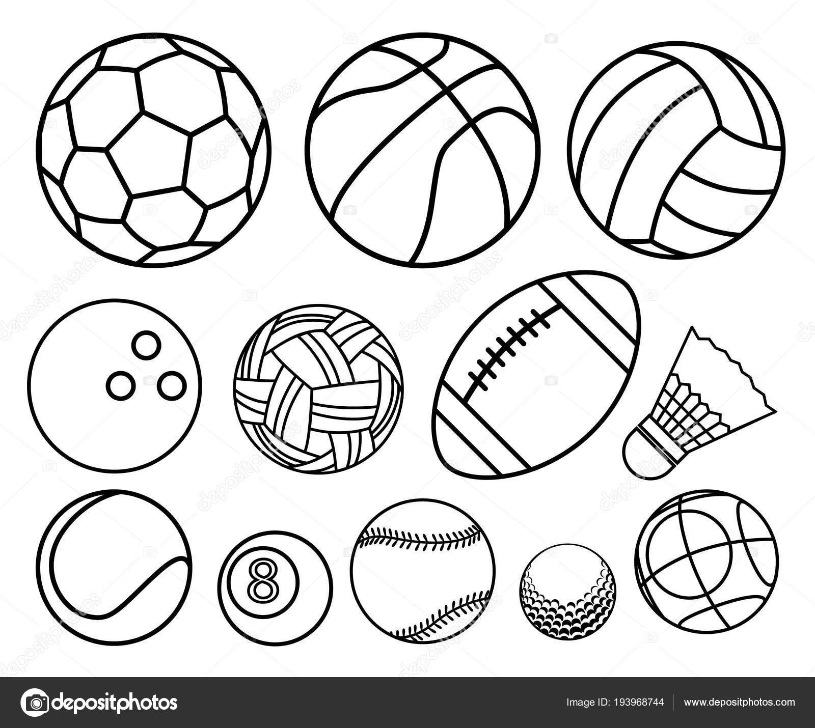 Famoso Pelotas De Deporte Para Colorear Ilustración - Enmarcado Para ...