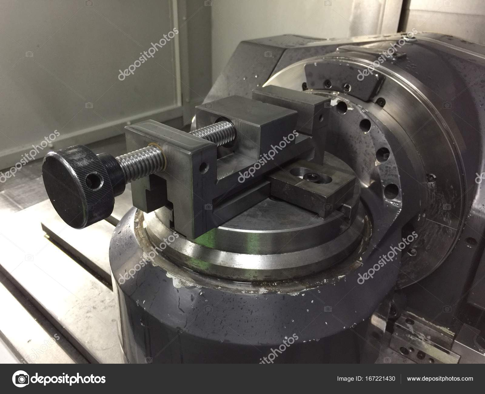 work clamp in cnc 5 axis machine stock photo