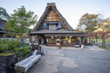 Shirakawa Japan - 12 Nov 2019: Many people walking around traditional Gusso farmhouse at Shirakawa go village in autumn, Japan.
