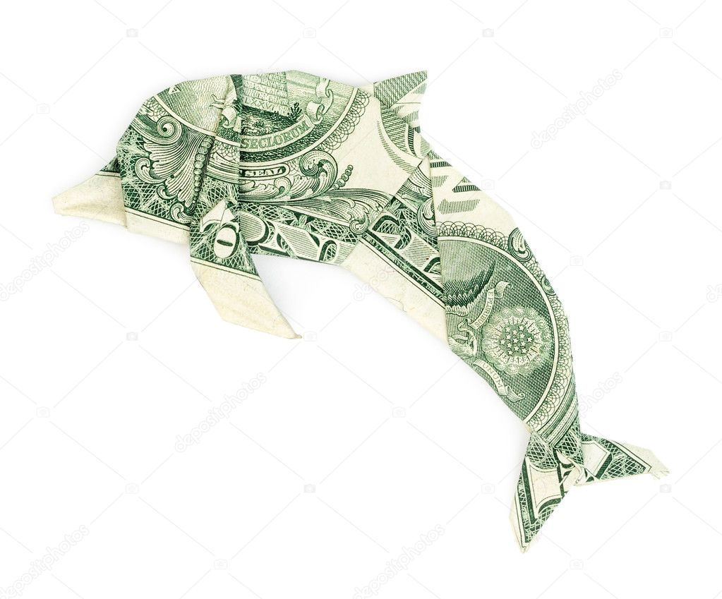 Dollar Origami Dolphin Isolated On White Background Moneygami Photo By Martina L
